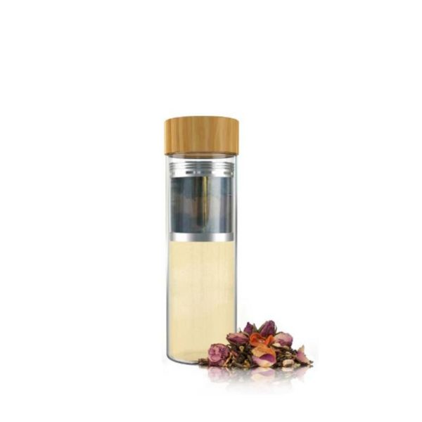 Glass tea infuser water tumbler with bamboo lid
