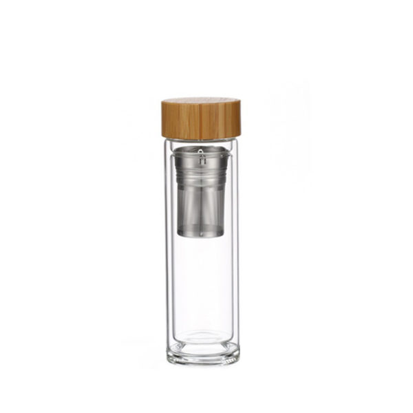 Tea infuser bottle heat resistant double wall water glass