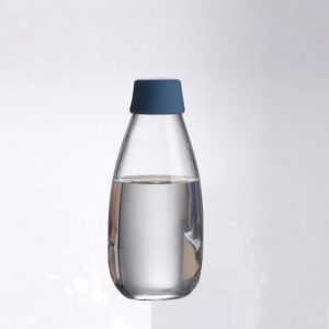 Water glass bottle belly shape with silicone cap
