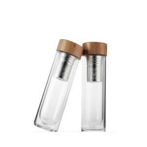 glass water bottle double wall tea infuser 500ml