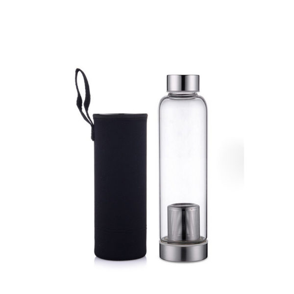 tea infuser high borosilicate glass bottle with pouch cover