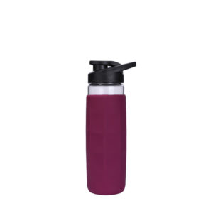 20oz square shape silicone cover glass bottle