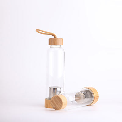 Glass infuser high borosilicate glass bottle with bamboo lid