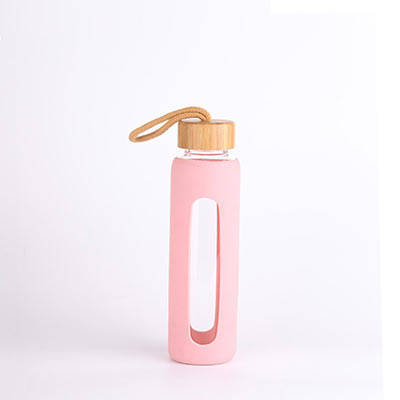 Water carafe glass bottle with slicone cover bamboo lid