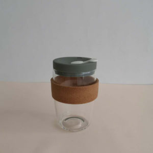 Glass travel mug eco-friendly reusable coffee cup with resistant cork band 10oz