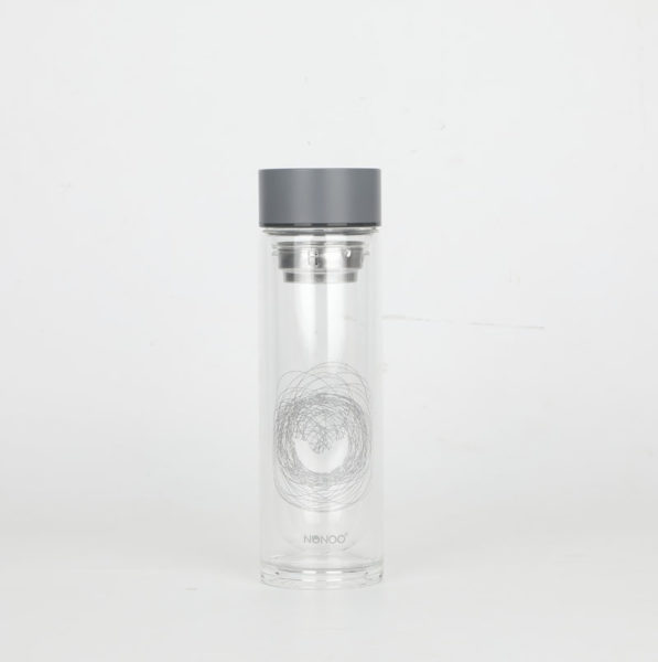 Hot sale Double wall glass water bottles with the stainless insfuer for the tea sets