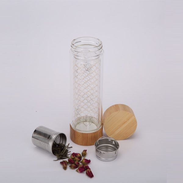 14oz tea tumbler glass tea infuser bottle +strainer loose tea leaf infuser