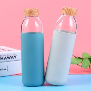 High borosilicate glass wood printing lid water bottle with silicone sleeve
