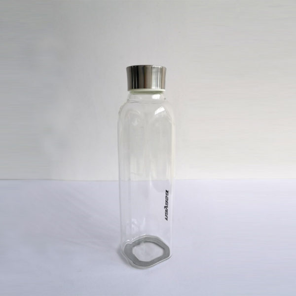Large square shape bottle glass with steel lid 30oz