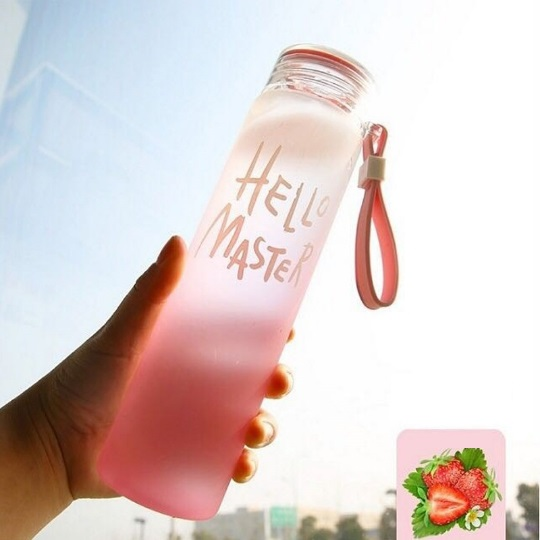 High borosilicate glass color water bottle factory 3