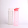 Wide mouth glass tumbler with straw protective sleeve leakproof for sports