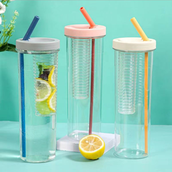 BPA free palstic 24oz colorful flip cap fruit infuser bottle with straw